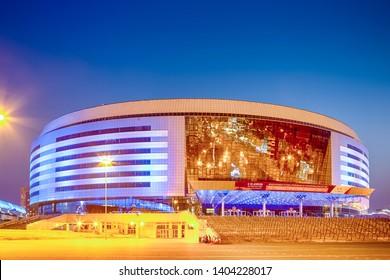 Minsk- Belarus, April 23, 2019: Minsk Arena Complex as the Main Sport Venue with Blue Illumination for Second European Games in April 23, 2019 in Minsk,Belarus