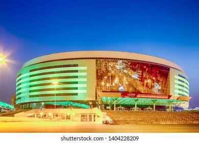 Minsk- Belarus, April 23, 2019: Minsk Arena Complex as the Main Sport Venue with Green Illumination for Second European Games in April 23, 2019 in Minsk, Belarus