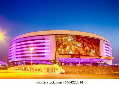 Minsk- Belarus, April 23, 2019: Minsk Arena Complex as the Main Sport Venue for Second European Games in April 23, 2019 in Minsk, Belarus