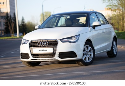 Minsk, BELARUS - APRIL 24, 2014: New Audi A1 hatchback Imported from Moscow to Minsk. The car is parked on a street in Minsk.