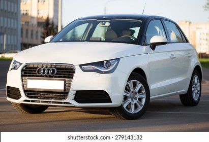 Minsk, BELARUS - APRIL 24, 2014: New Audi A1 hatchback drove his first eight hundred miles from Moscow to Minsk. The car is parked on the street in Minsk.
