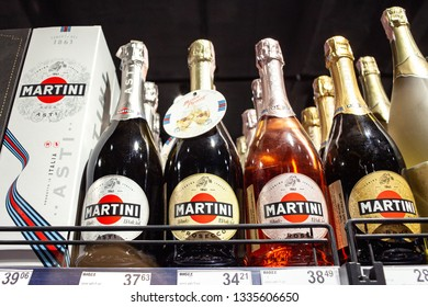 Minsk, Belarus, April 24, 2018: Different types bottles of Martini on store shelve for sale in Hypermarket.