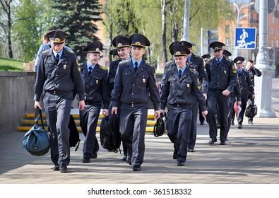 MINSK, BELARUS - APRIL 28, 2015: Police Academy Cadets
