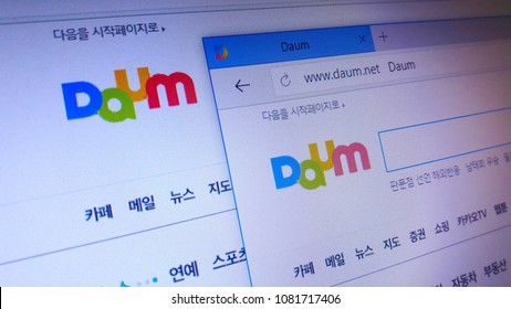 Minsk, Belarus - April 28, 2018: The homepage of the official website for Daum, a South Korean web portal in South Korea, one of the top three along with Naver and Nate.