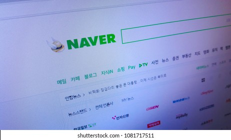 Minsk, Belarus - April 28, 2018: The homepage of the official website for Naver, a South Korean online platform operated by Naver Corporation.
