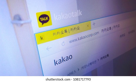 Minsk, Belarus - April 28, 2018: The homepage of the official website for KakaoTalk (KaTalk), a free mobile instant messaging application for smartphones.