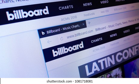 Minsk, Belarus - April 28, 2018: The homepage of the official website for Billboard, an American entertainment media brand, that make news, reviews, events, and known for its music charts.