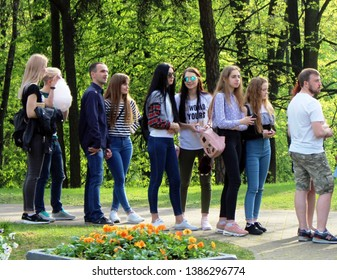 Minsk. Belarus. April 3, 2019. Young people are in the queue for the opening of the new attraction in the Central Park named after Maxim Gorky