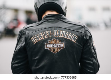 MINSK, BELARUS - April 30, 2017.Embroidery on the back of a biker jacketHarley Davidson.