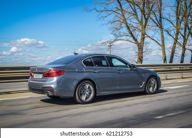 MINSK, BELARUS - APRIL 4, 2017: 2017 BMW 520d (G30) on the road. BMW 5 Series has been entirely newly developed allowing for a significant weight loss with the use of aluminum and high-strength steel.