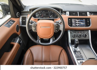 MINSK, BELARUS - APRIL 6, 2014: an interior of 2015 model year Range Rover Sport 3.0 Supercharged is on display. British SUV is powered by 3.0 liter V6 (340 hp & 450 Nm). Close up, shallof DOF.