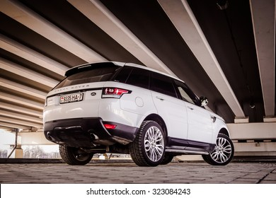 MINSK, BELARUS - APRIL 6, 2014: 2015 model year Range Rover Sport 3.0 Supercharged at the test-drive. British sport SUV is powered by 3.0 liter V6 (340 hp & 450 Nm).