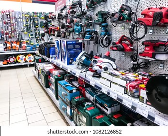 Minsk, Belarus - April 6, 2018: Department of construction electric tools of various manufacturers.