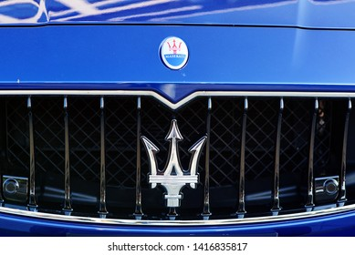 Minsk, Belarus - Aug 2018. Emblem from Maserati Ghibli. Maserati Trident Logo - Luxury Car Manufacturer Based in Italy.