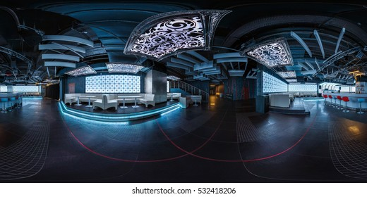 MINSK, BELARUS - AUGUST 08, 2015: Full 360 by 180 degree seamless panorama in equirectangular spherical projection in stylish night club