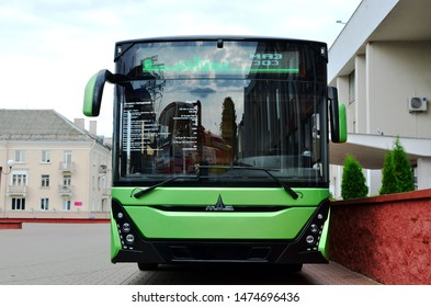 MINSK, BELARUS - AUGUST 09, 2019:  Minsk Automobile Plant (MAZ) introduced the first instance of a third-generation city low-floor bus MAZ-303 model with an Euro-6 engine, Daimler, 299 hp