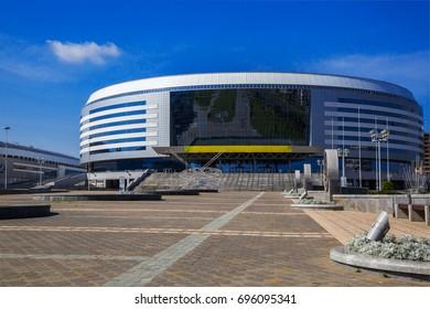 "Minsk, Belarus - August 11, 2017, modern architecture of the sports complex ""Minsk-Arena"""