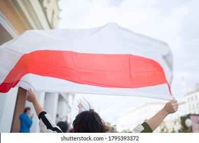 MINSK, BELARUS - August 13, 2020: Peaceful protest in Minsk. Flag of Belarus. White red white