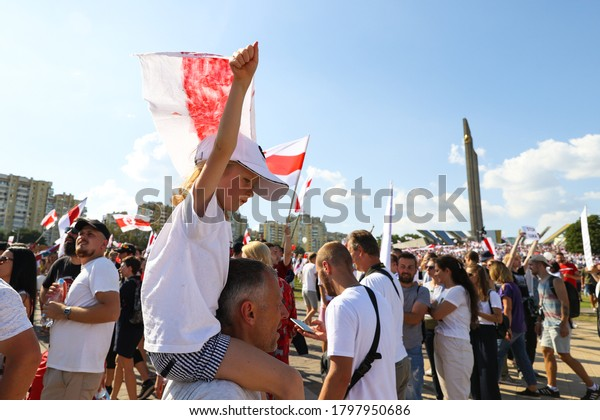 Minsk, Belarus - August 16,2020 : Peaceful protests against the decision of the presidential election in Belarus