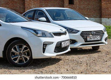MINSK, BELARUS AUGUST 17, 2017: New KIA Rio vs Hyundai Accent (Solaris) at the test drive event for automotive journalists from Minsk