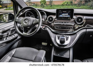 MINSK, BELARUS - AUGUST 18, 2015: The new Mercedes-Benz V-Class at the test-drive event. V-class combines the spaciousness of its interior with unique agility on the road. Interior is on display.