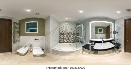MINSK, BELARUS - AUGUST 18, 2017: 360 panorama inside of interior bathroom restroom in modern hotel. Full 360 degree angle view seamless panorama in equirectangular spherical equidistant projection