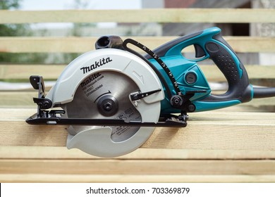 Minsk, Belarus, august 20, 2017: A circular saw Makita 5477NB. Makita Corporation founded on March 21, 1915, it is based in Japan.