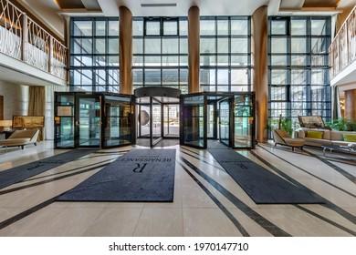 MINSK, BELARUS - AUGUST , 2017: columns in guestroom hall reception of modern luxury hotel or office