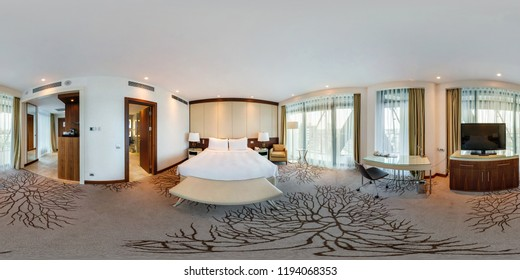 MINSK, BELARUS - AUGUST, 2017: full seamless spherical 360 degrees angle view panorama view in bedroom loft room in luxury elite vip hotel in equirectangular spherical projection, skybox VR AR content