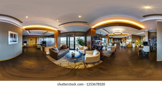 MINSK, BELARUS - AUGUST, 2017:  full seamless spherical Panorama 360 degrees in interior computer room and library for clients in elite hotel. 360 panorama  in equirectangular projection. VR content