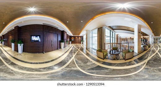 MINSK, BELARUS - AUGUST, 2017: full seamless spherical panorama 360 angle view inside interior of guestroom hall reception of modern luxury hotel in equirectangular equidistant projection. VR content