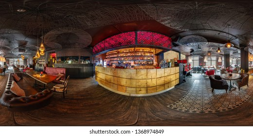 MINSK, BELARUS - AUGUST, 2018: full seamless spherical hdri panorama 360 degrees angle view in modern nightclub pub restaurant with dark loft design style in equirectangular projection. vr ar content