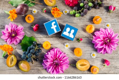 Minsk, Belarus - August, 2018: Social network logo Facebook is on the table. Autumn fruts and flowers are near it. Concept.
