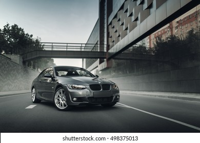 Minsk, Belarus - August 21, 2016: Car BMW Coupe E92 standing on asphalt road in city Minsk, Belarus at daytime