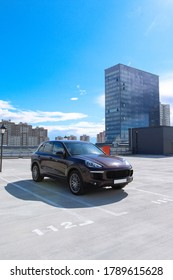 MINSK, BELARUS AUGUST 22, 2020: Porsche Cayenne 2014 release at the test drive event for automotive journalists from Minsk