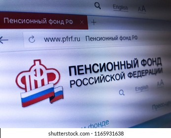 Minsk, Belarus - August 23, 2018: The homepage of the official website for Pension Fund of the Russian Federation, is the principal national pension fund in Russia.