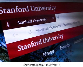 Minsk, Belarus - August 23, 2018: The homepage of the official website for Stanford University, a private research university in Stanford, California.