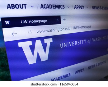 Minsk, Belarus - August 23, 2018: The homepage of the official website for The University of Washington (UW), a public research university in Seattle, Washington.