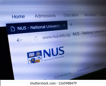 Minsk, Belarus - August 23, 2018: The homepage of the official website for The National University of Singapore (NUS), an autonomous research university in Singapore.