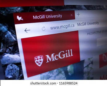 Minsk, Belarus - August 23, 2018: The homepage of the official website for McGill University, a public research university in Montreal, Quebec, Canada.