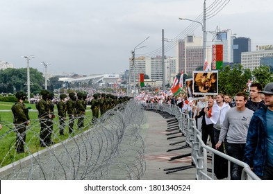 Minsk, Belarus - August 23, 2020: Belarusian people participate in peaceful protest against special police units and soldiers after presidential elections in Belarus