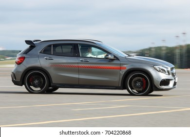 MINSK, BELARUS AUGUST 26, 2017: Mercedes-Benz Star Experience 2017 on the test site in Lipki  at the express test of the fastest Mercedes AMG for journalists, bloggers and clients from Minsk