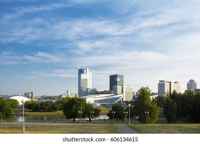 Minsk, Belarus - August  27, 2015; View of the city center. Palace of Sports. On the Pobediteley Avenue, hotels and business centers