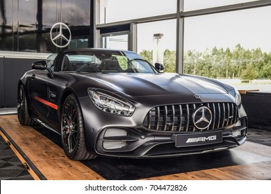 MINSK, BELARUS - AUGUST 27, 2017: Mercedes-AMG GT C Roadster is on a display during a Star Experience event. Its 4.0-liter V8 biturbo reaches maximum output of 557  hp and 680 Nm of torque.
