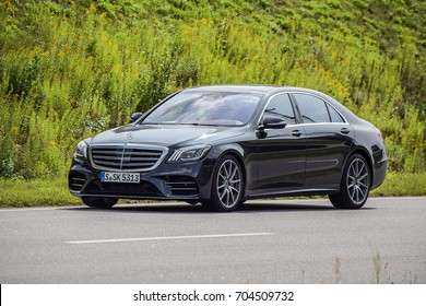 MINSK, BELARUS - AUGUST 27, 2017: Mercedes-Benz S560 4Matic (W222) during a test-drive event. New V8 biturbo delivers 469 hp and 700 Nm. It is among the most economical V8 petrol engines in the world.