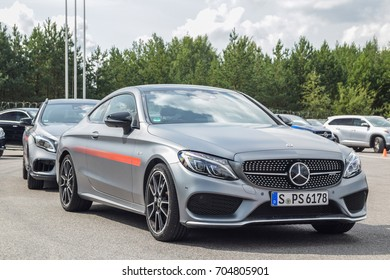MINSK, BELARUS - AUGUST 27, 2017: Mercedes-AMG C 43 is on display during a Star Experience event. Its 3.0-liter V6 biturbo reaches maximum output of 367 hp and 520 Nm of torque.