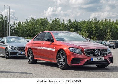 MINSK, BELARUS - AUGUST 27, 2017: Mercedes-AMG E 43 4MATIC is on display during a Star Experience event. Its 3.0-liter V6 biturbo reaches maximum output of 401 hp and 520  Nm of torque.