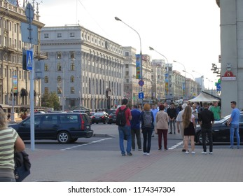 Minsk, Belarus - August 30, 2018: the Center of Minsk. Busy traffic and people on Independence Avenue in the evening. Famous tourist place - top gorodd
