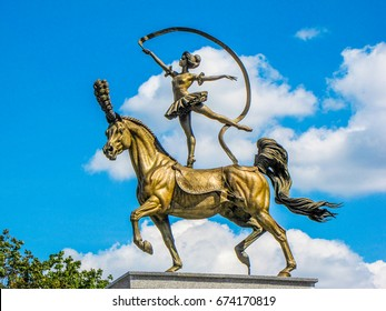 MINSK, BELARUS - AUGUST 5, 2012 -  Bronze sculpture of gymnast girl balancing on a horse, near the State Circus.