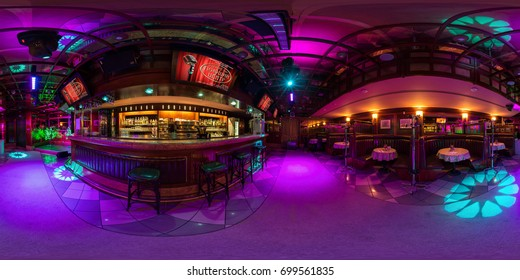 MINSK, BELARUS - AUGUST 5, 2016: Full spherical 360 by 180 degrees seamless panorama view in equirectangular equidistant projection, 360 panorama in interior stylish karaoke bar night club. VR content
